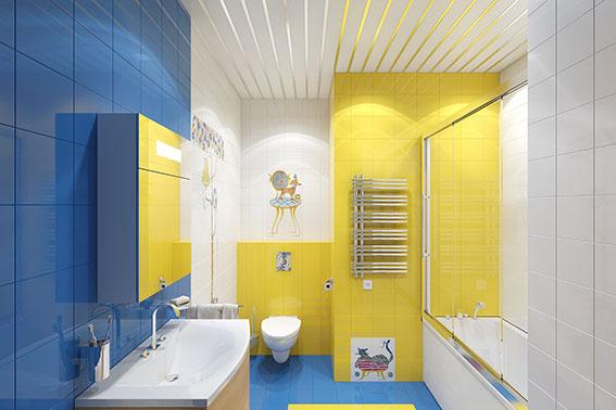 Жёлто-синий интерьер