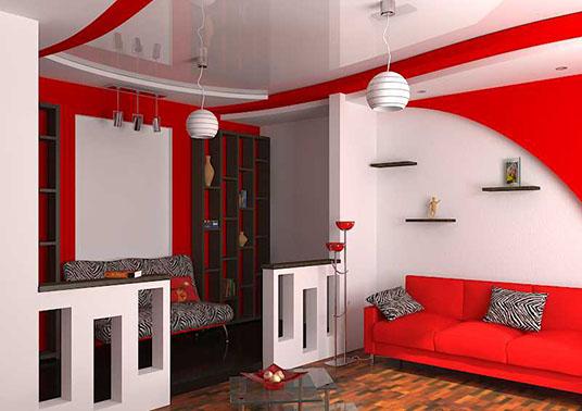 Красно серый интерьер
