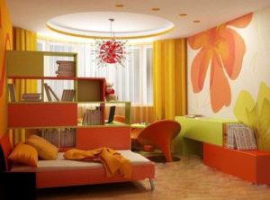 Оранжево-зелёный интерьер