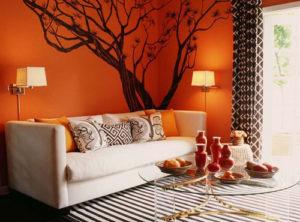Оранжево-коричневый интерьер
