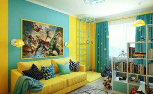 Сочетание жёлтый-синий цвет