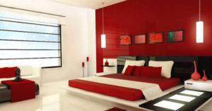 Сочетание красный белый чёрный интерьер