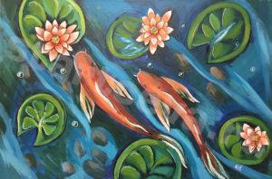 """Картина """"Рыбки"""", холст, акрил"""